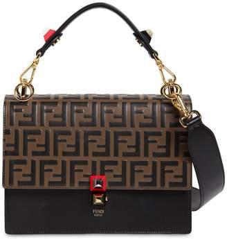 Fendi Medium Kan I Logo Embossed Leather Bag