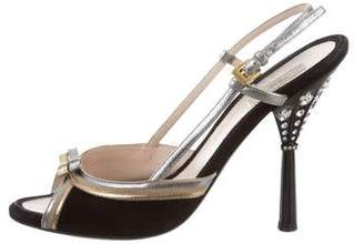 Prada Bow-Accented Slingback Sandals
