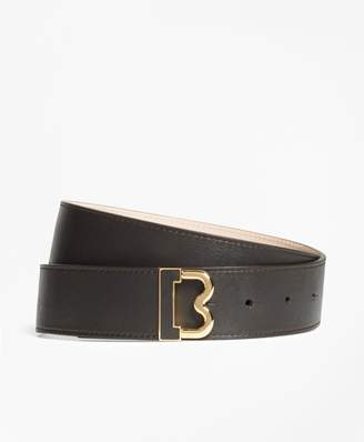 "Brooks Brothers Leather ""B"" Buckle Belt"