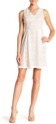 Kensie Box Pleated Crochet Lace Dress