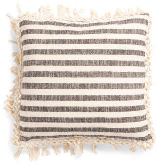20x20 Woven Stripe Fringe Pillow