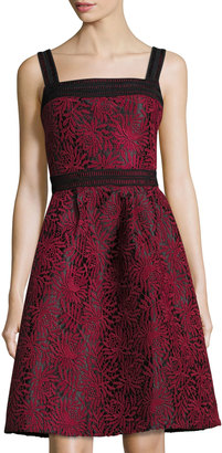 FEW MODA Fit-and-Flare Floral-Embroidered Dress, Wine Red $149 thestylecure.com