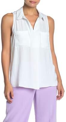 Naked Zebra Sleeveless Pocketed Satin Shirt