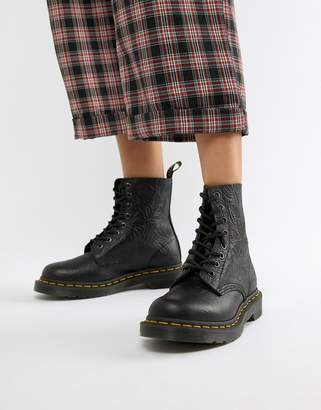 Dr. Martens 1460 Pascal Embossed Black Leather Flat Ankle Boots