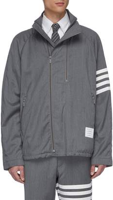 Thom Browne Stripe sleeve double zip raglan jacket