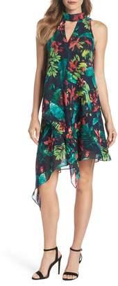 Maggy London Print Asymmetric Swing Dress