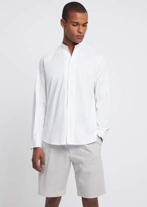 Emporio Armani Twill Cotton Shirt With Mandarin Collar