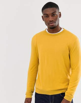 Asos Design DESIGN cotton sweater in mustard