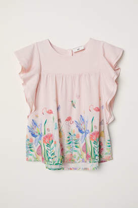 H&M Flounce-sleeved Top - Pink