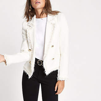 River Island Cream boucle pearl double-breasted jacket