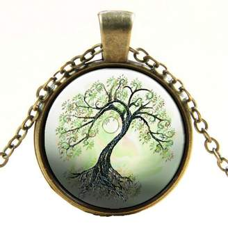 """Murano Misswish Vintage Glass Family Tree of Life Pendant with 18"""" Necklace"""