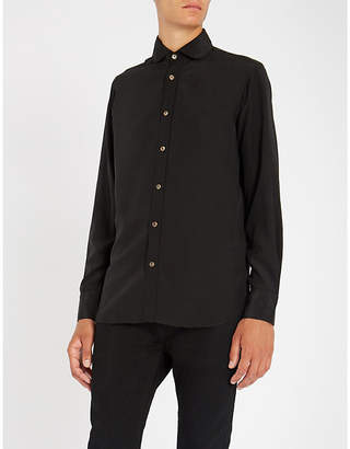 MAXIMILIAN ROBINSON Black Palm embroidered-palm trees regular-fit silk shirt
