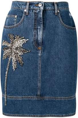 MSGM Palm embellished denim skirt
