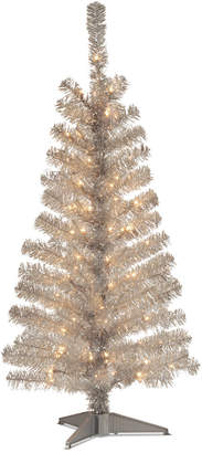 clear National Tree 4Ft Silver Tinsel Tree With Lights