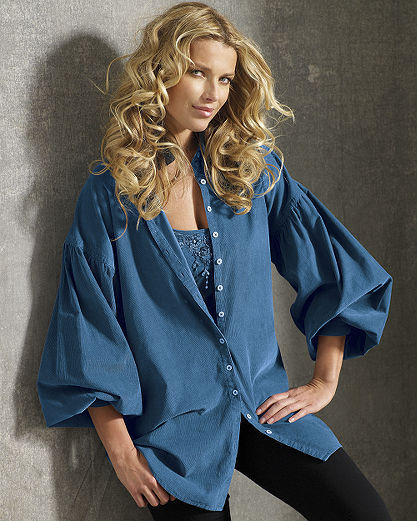 Billow-Sleeve Corduroy Tunic Shirt