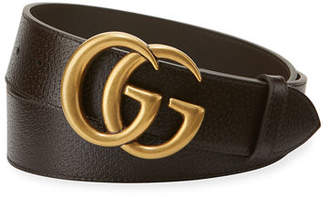Gucci Men's Leather Belt with Double-G Buckle $390 thestylecure.com