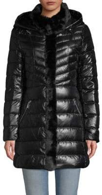 Faux Fur-Trimmed Down Jacket
