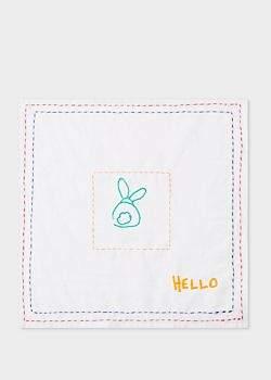 Paul Smith Men's White Doodle Pattern 'Hello' Pocket Square