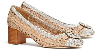 Tory Burch CHELSEA WOVEN METALLIC CAP-TOE PUMP