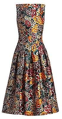 cd03d4e8 Oscar de la Renta Women's Multi Floral Jacquard Sleeveless A-Line Dress