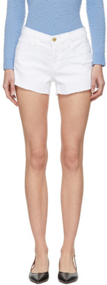 Frame White Le Cut Off Tulip Hem Shorts