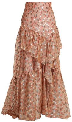 Peter Pilotto Fil Coupe Jacquard Silk Blend Organza Skirt - Womens - Nude Print