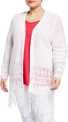 abba614b6c1 MICHAEL Michael Kors Size Crochet Fringe Long-Sleeve Cardigan