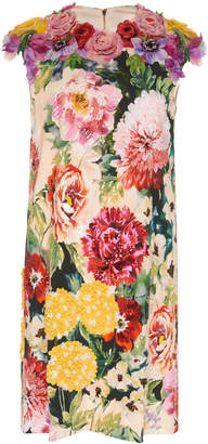 Dolce & Gabbana Embellished Floral Stretch-Crepe Mini Dress