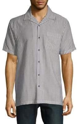Saks Fifth Avenue Stripe Short-Sleeve Camp Button-Down Shirt