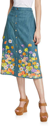 Alice + Olivia Townes Floral-Embroidered Snap-Front Cotton Midi Skirt