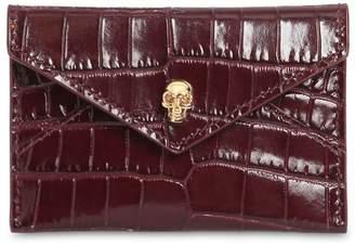 Alexander McQueen Croc Embossed Leather Cardholder
