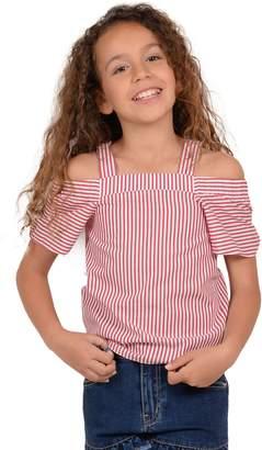 Mini Molly Girl's Striped Cold-Shoulder Cotton Top