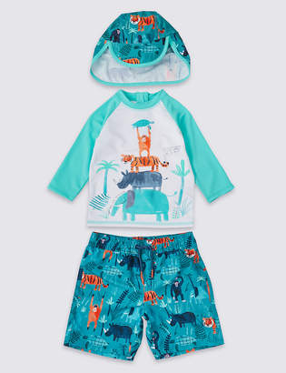 Marks and Spencer 3 Piece Swimsuit Set with Sun Smart UPF50+ (3 Months - 7 Years)