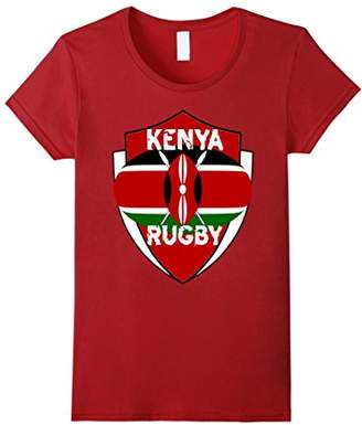 Kenya Rugby Fan T-Shirt Distressed Text Red Shield