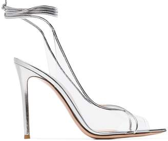 Gianvito Rossi silver metallic denise leather and pvc 105 sandals