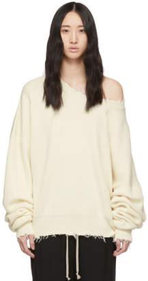 Unravel ホワイト リブ オーバーサイズ セーター