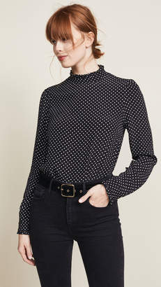 Three Dots Ruffle Mock Neck Blouse