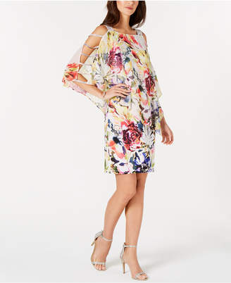 MSK Floral-Overlay Cold-Shoulder Shift Dress