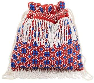 Staud - Lance Beaded Canvas Pouch - Womens - Red Multi