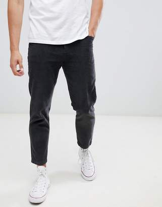 Celio straight fit cord pants in gray