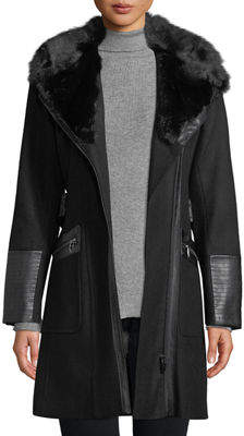 Via Spiga Asymmetric Zip-Front Soft-Shell Coat w/ Faux Fur Collar