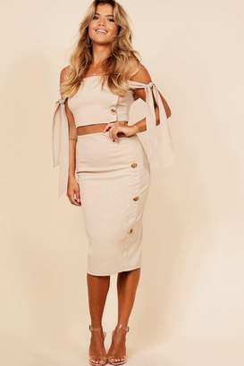 boohoo Button Detail Midi Skirt