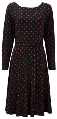 Wallis Black and Rust Polka Dot Dress