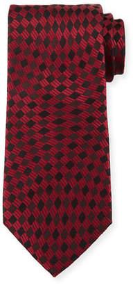 Giorgio Armani Tonal Wave Check Silk Tie, Red