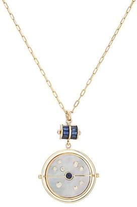 RETROUVAI Women's Grandfather Compass Pendant Necklace - Blue