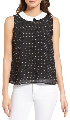 Women's Cece Collared Clip Dot Shell $79 thestylecure.com