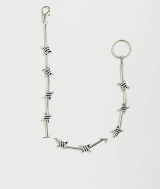 Asos Design DESIGN faux barbed wire jean chain in burnished silver