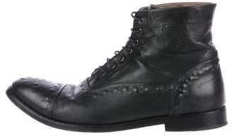 Alexander McQueen Leather Cap-Toe Boots