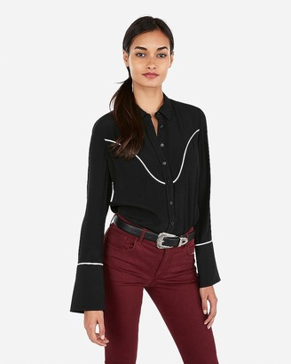 Express Western Piped Flare Sleeve Button Up Shirt
