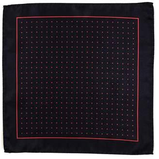 Black Navy and Red Polka Dot Italian Silk Pocket Square